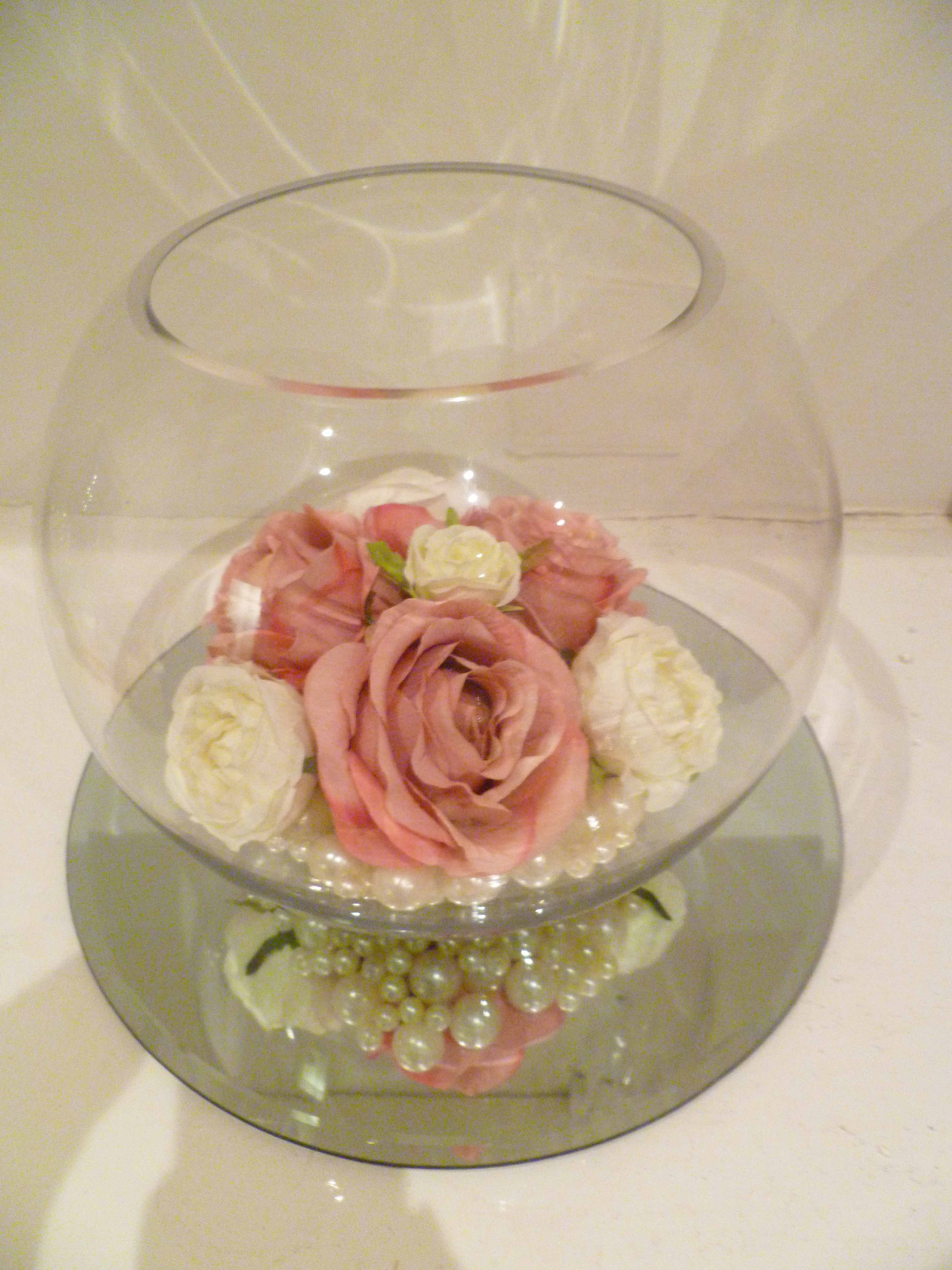 Vintage Fishbowl Centrepiece Featuring Ivory And Pink Silk Flowers