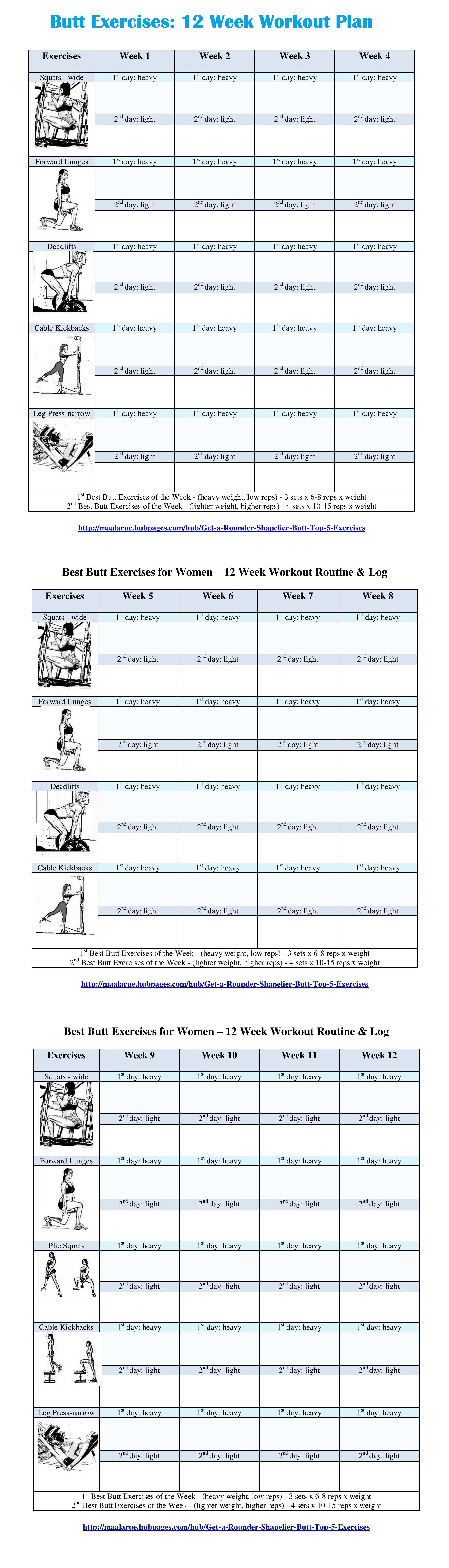 week butt exercise routine free pdf for download or print is also available at best fitness images workouts functional training rh pinterest