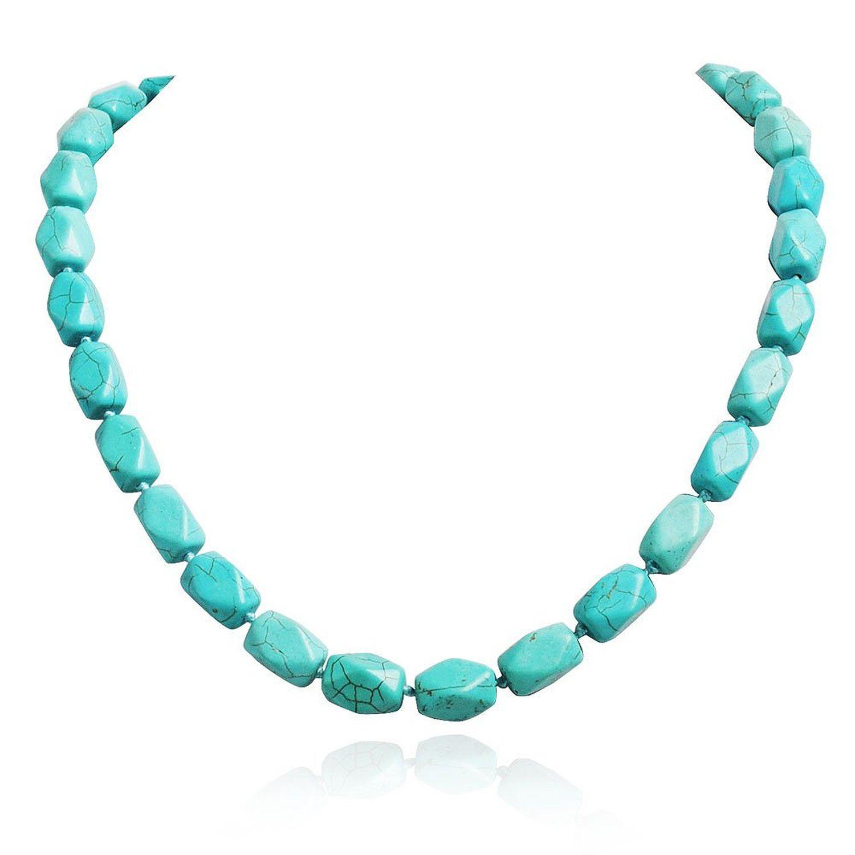 e0f7726fde45b Jane Stone Collier Chaine Perles Turquoise Ethnique Bleu: Amazon.fr: Bijoux
