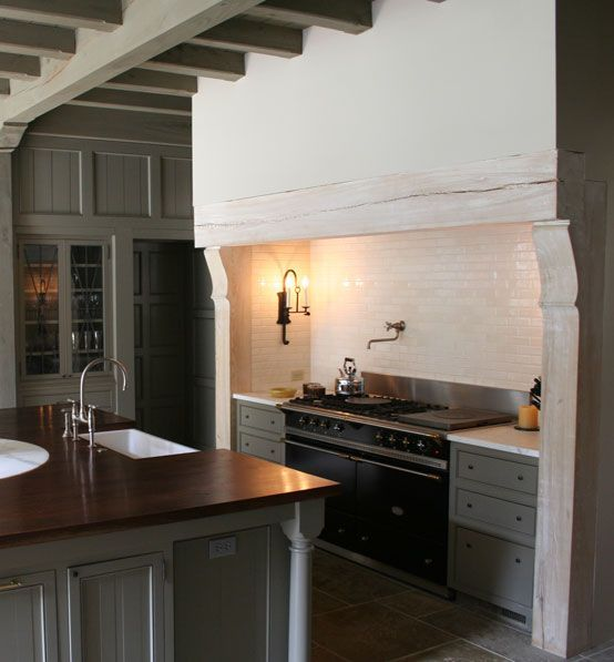 grey cabinets, hearth vent range