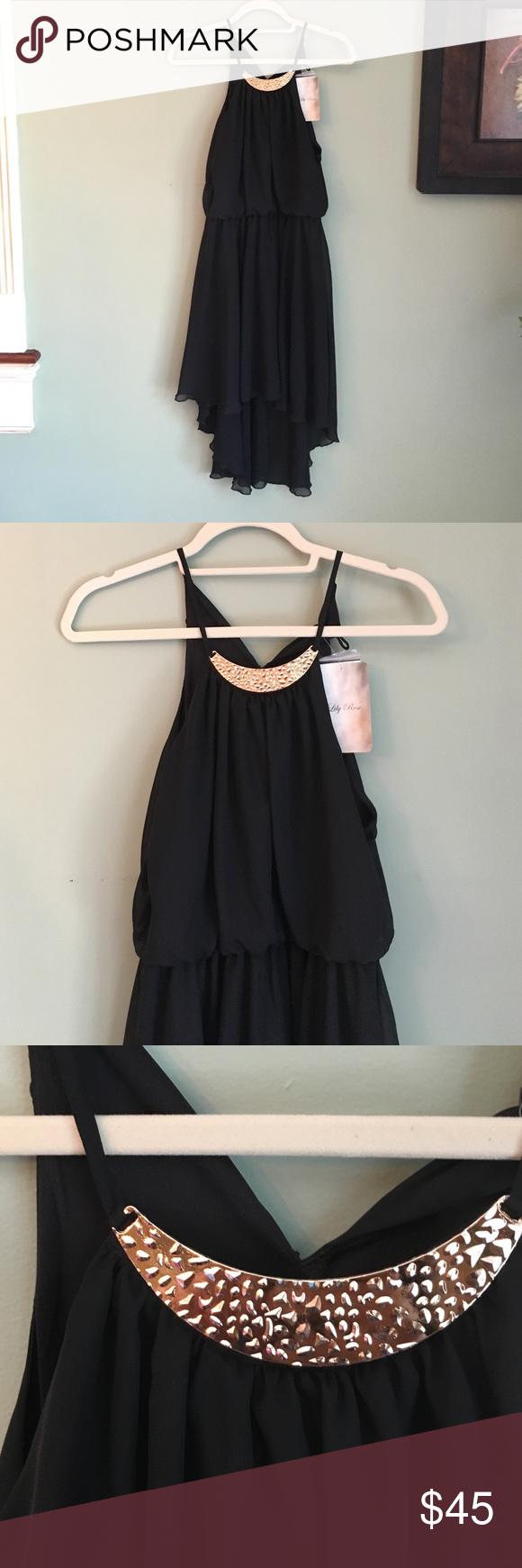 e972322a11da18 Black Midi/HighLow Black Dress w/necklace attached BRAND NEW. Black midi/  high low dress. With gold necklace attached. Lily Rose Dresses High Low