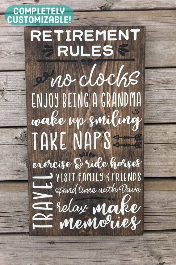 Retirement Rules Sign Retirement Gift Personalized