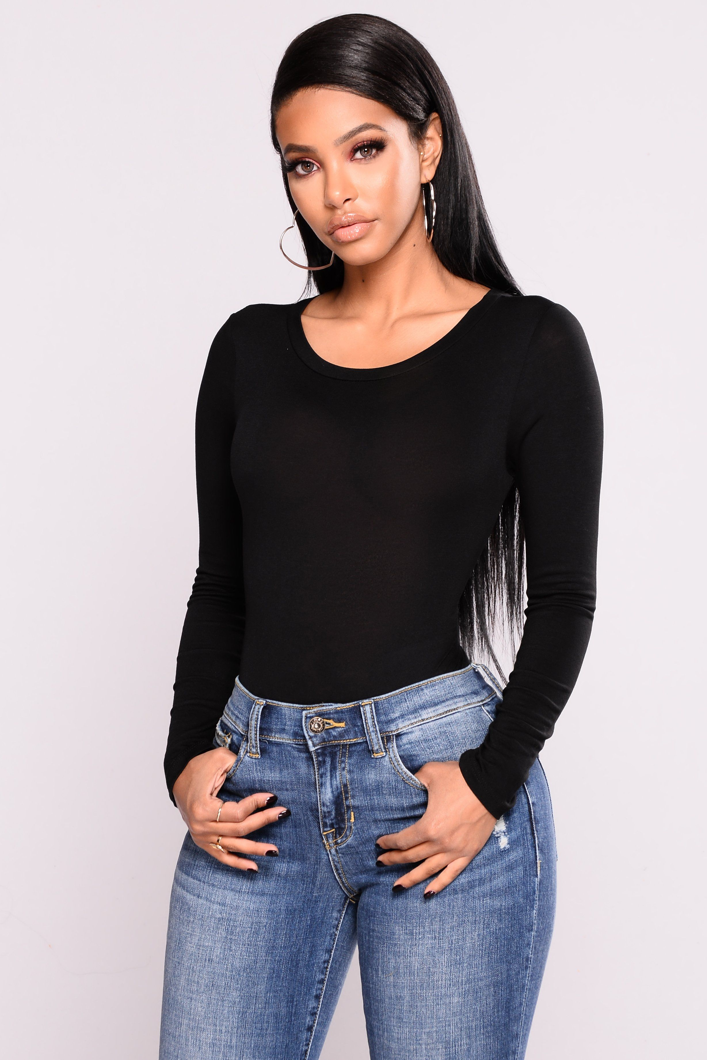 c3ceca4ef978fe Available in Black, and Ivory T- Shirt Bodysuit Round Neckline Long Sleeve  Cheeky Bottom Snap Button Bottom Made in USA 95% Rayon 5% Spandex Final Sale