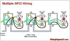 multiple gfci outlet wiring diagram electrical components rh pinterest com multiple gfci outlet wiring diagram eaton gfci outlet wiring diagram