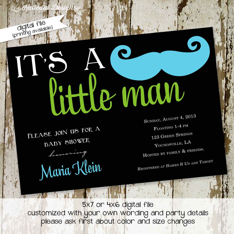 mustache baby shower invitation baby boy little man mustache bash ...