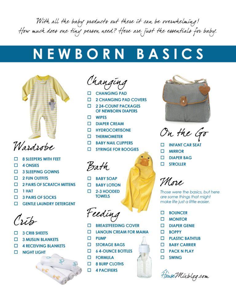 Newborn Basics Registry Checklist Baby Checklist Baby Essentials Newborn Checklist
