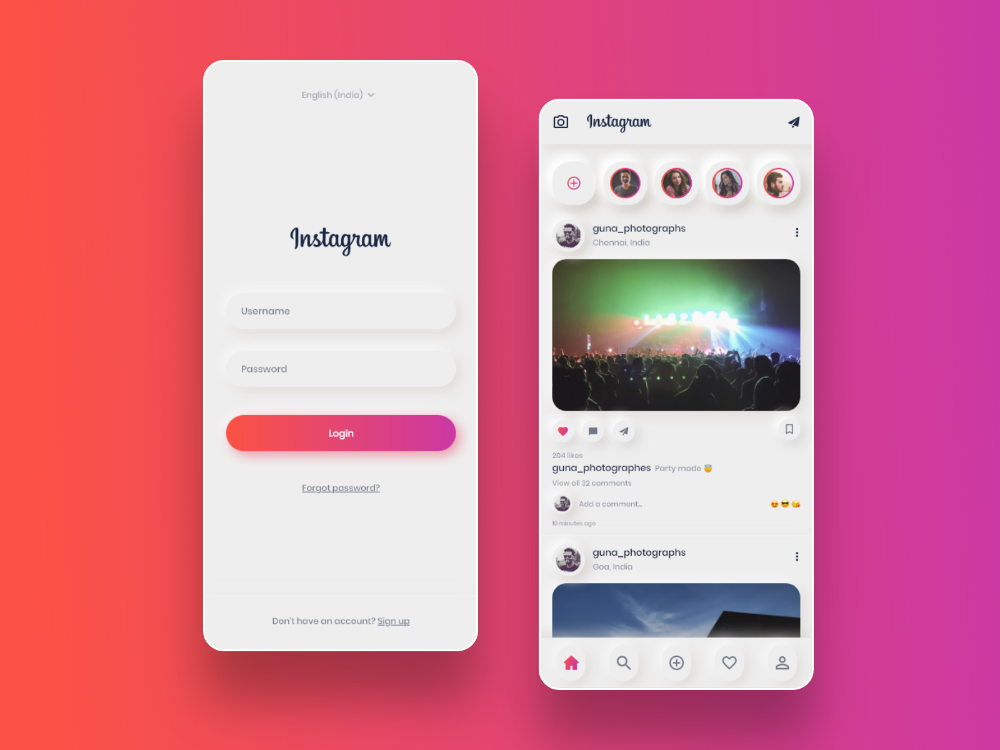 Neumorphism Instagram Redesign on Behance【2020】 アプリデザイン