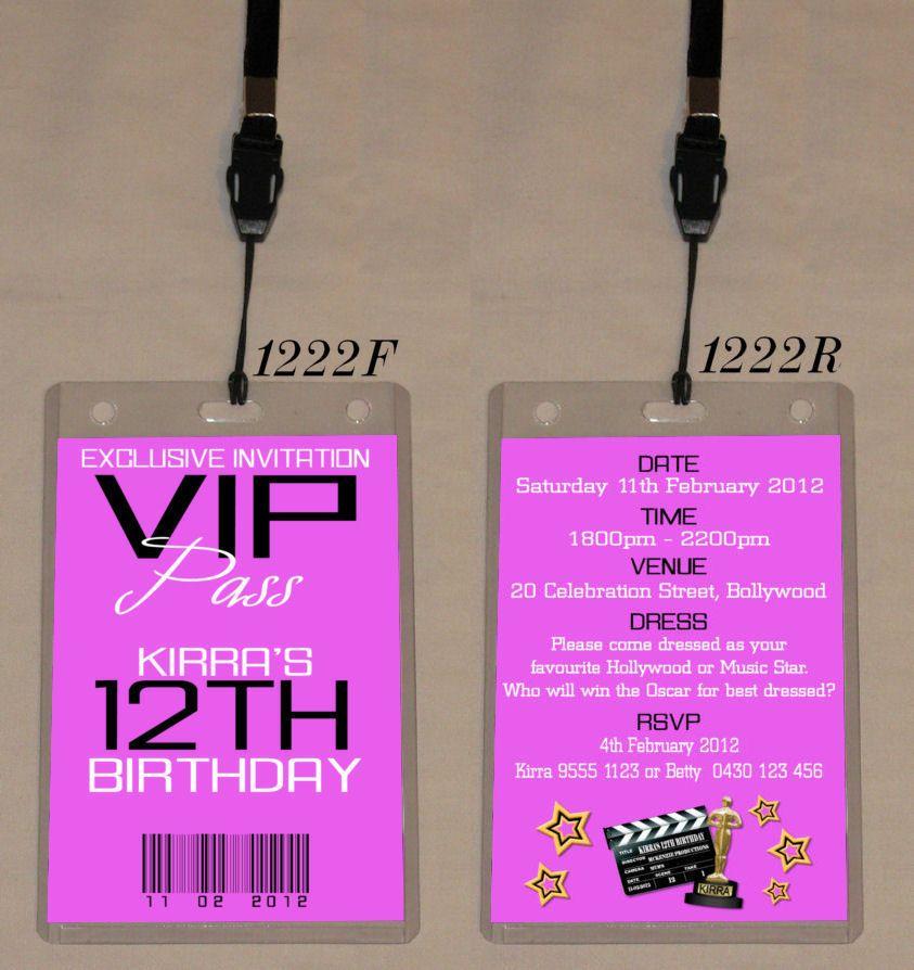 any age birthday vip pass invitation & lanyard - double sided, Party invitations
