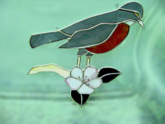 Birds red robin stained glass suncatcher thanksgiving spring birds red robin stained glass suncatcher thanksgiving spring wedding christmas birthday housewarming valentines mothers day easter gift negle Choice Image