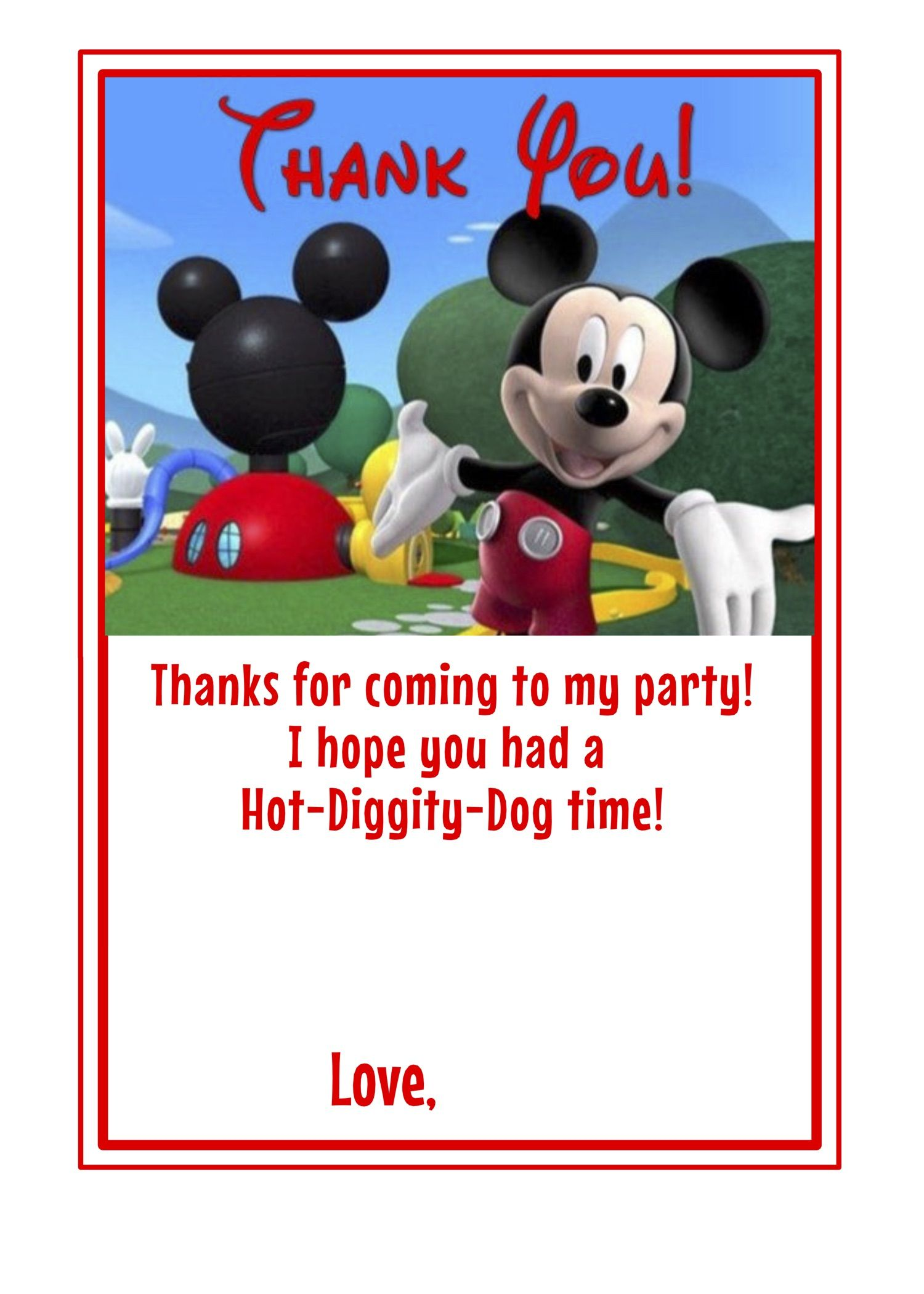 Mickey Mouse Clubhouse themed 2nd Birthday Thank You cards blank