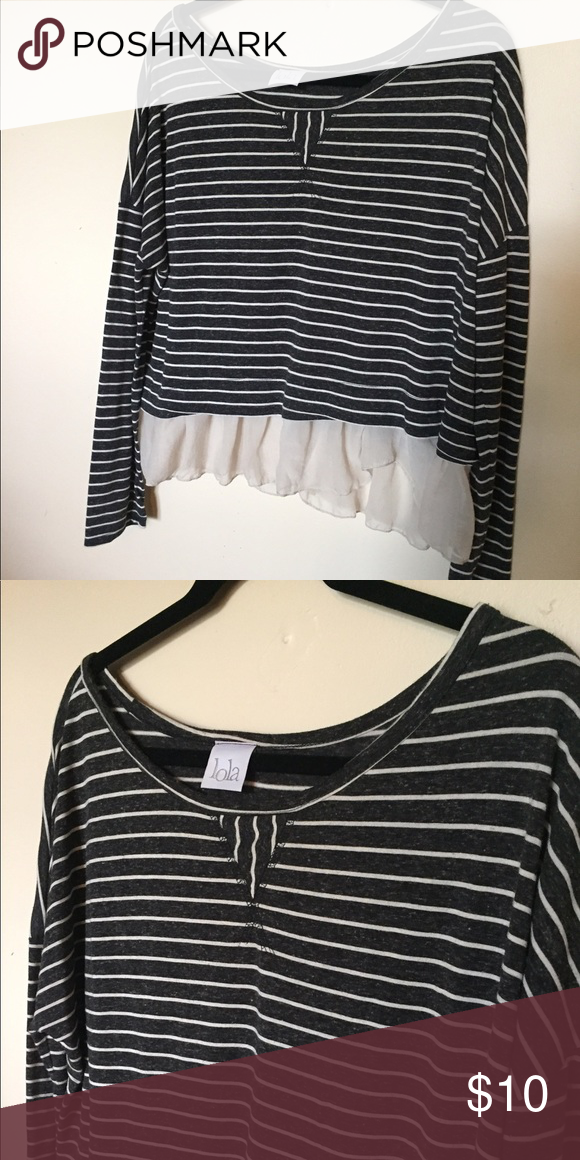 Lola long sleeve layered striped top Top is a light 3fceefbdd