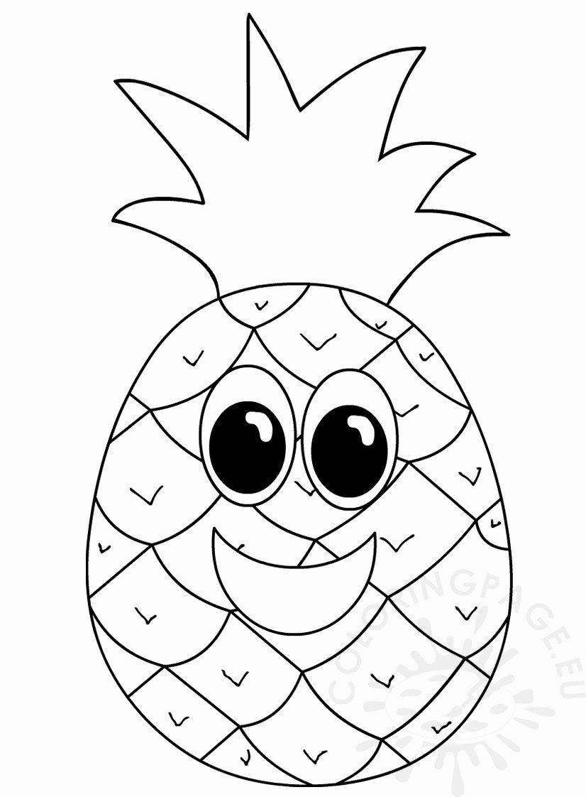 Cute Pineapple Coloring Page Beautiful Pineapple With Smiling Face Coloring Page In 2020 Cute Pineapple Cute Coloring Pages Pokemon Coloring Pages