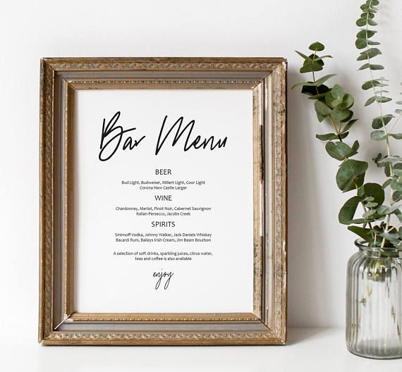 Bar Menu Printable Wedding Sign Editable Bar Menu Template  Bar