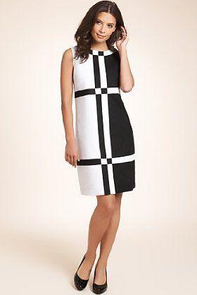 Linen Blend Colour Block Checked A Line Dress Marks Spencer