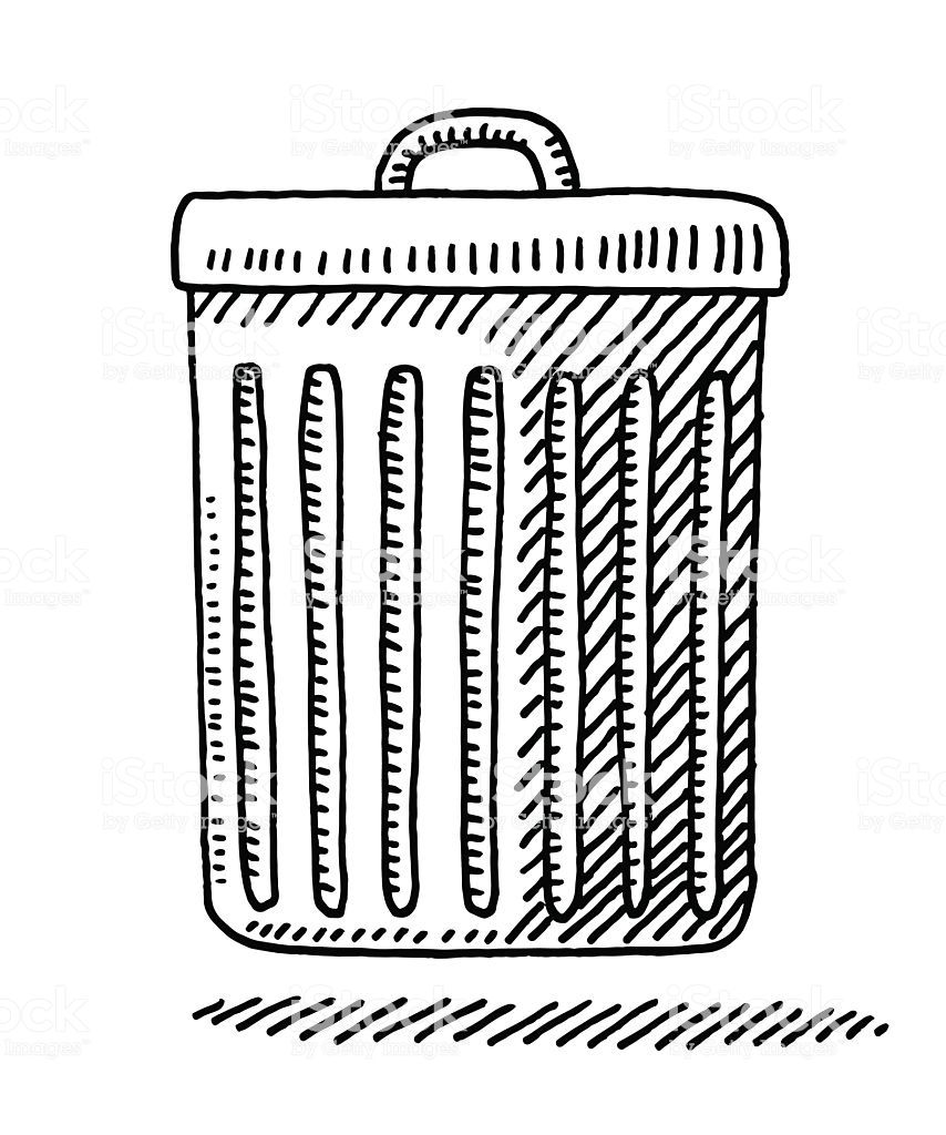 Hand Drawn Vector Drawing Of A Trash Can Side View Black And White Screen Printing Designs Drawings Side View Drawing