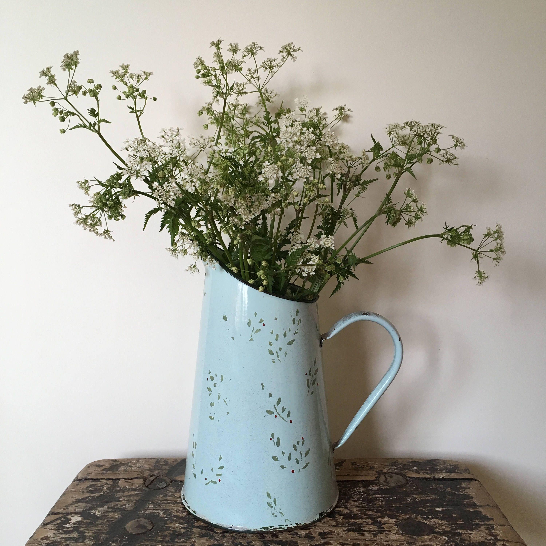 Vintage french enamel pitcherjug flower vase pale green dark vintage french enamel pitcherjug flower vase pale green dark green rim reviewsmspy
