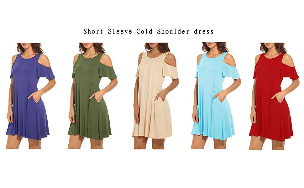 1afba41605f QIXING Women's Summer Cold Shoulder Tunic Top Swing T-Shirt Loose Dress  with Pockets at Amazon Women's Clothing store: