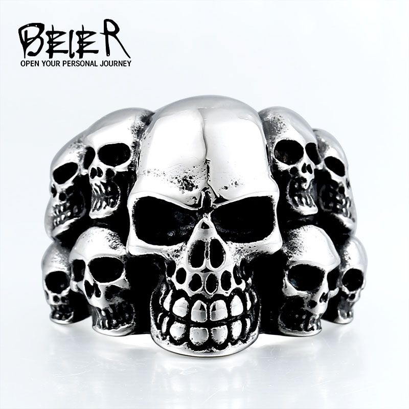 316L Stainless Steel Ring The Punisher Skull Punk Biker