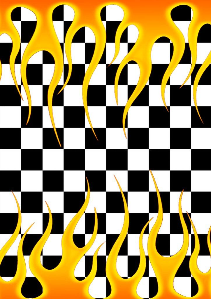 Checkered Flames Double Sides Wallpaper Made By Nastyzen