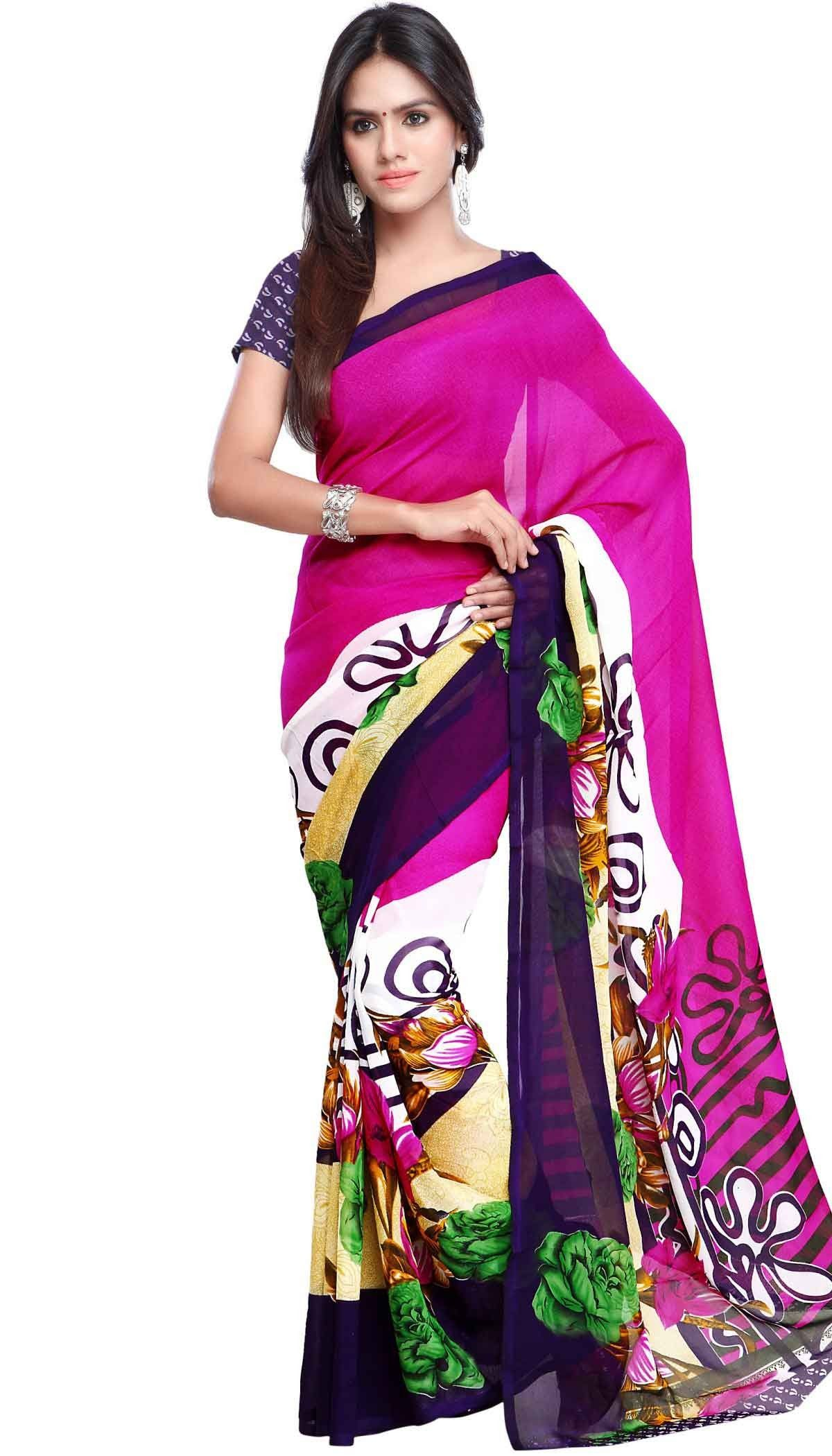 Poly Georgette Pink Multi Beautiful Printed Saree With Unstitch Blouse