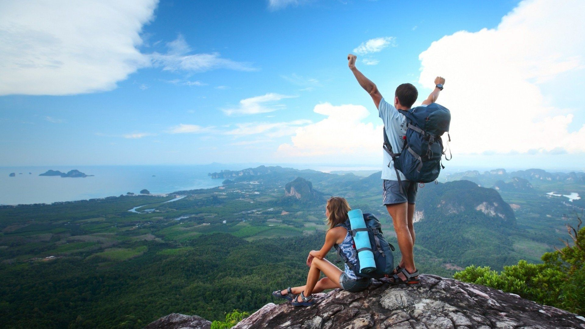 1920x1080 Couple Full Hd Background Travel Go Hiking Tours