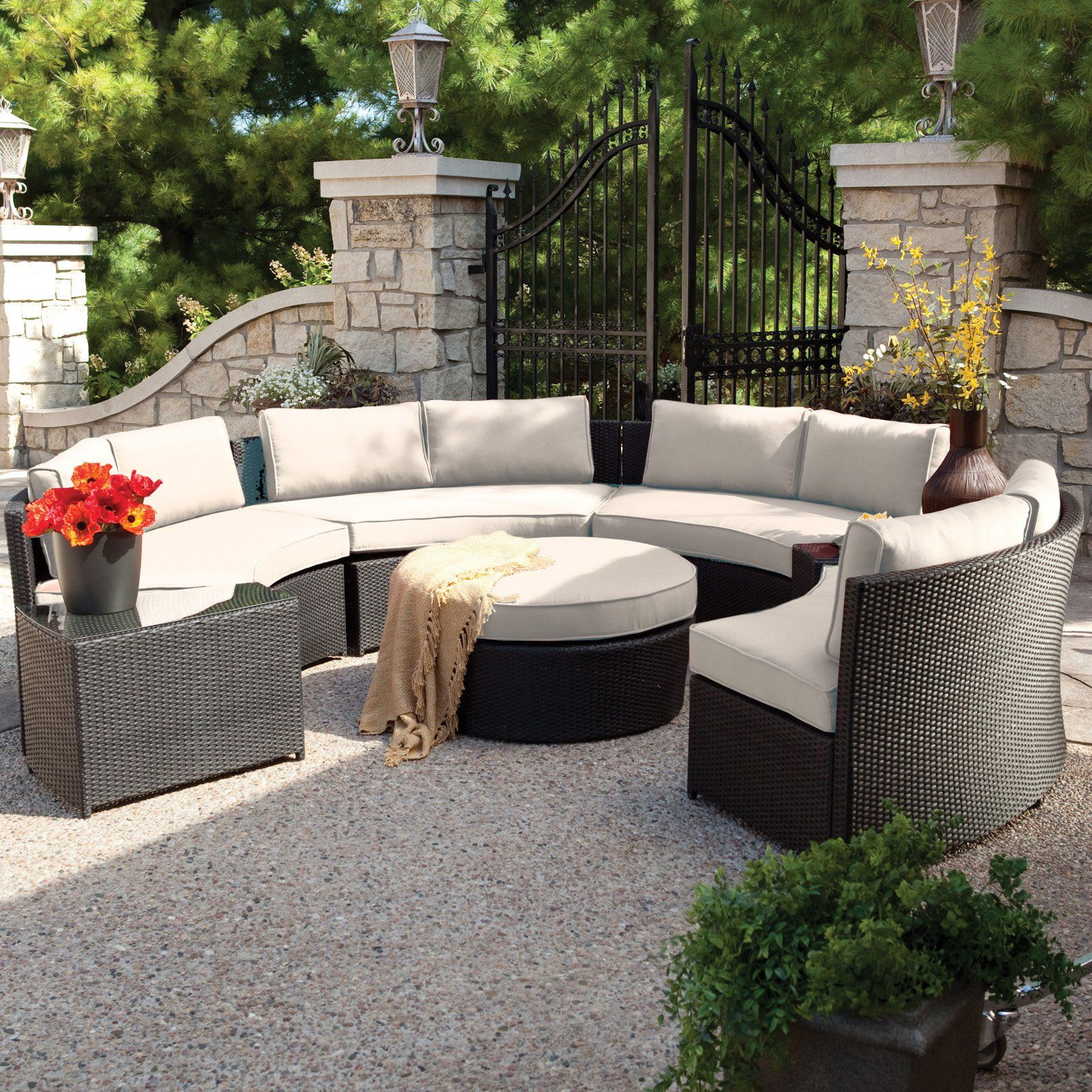 Belham Living Meridian Round Outdoor Wicker Patio Furniture Set With