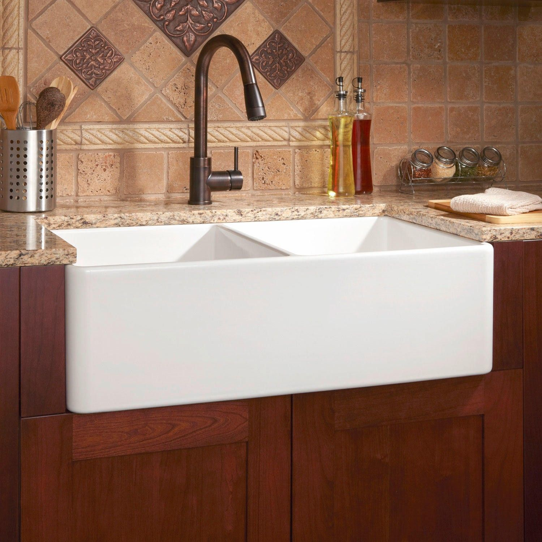 """Farmhouse Kitchen Sinks 33"""" reinhard double-bowl fireclay farmhouse sink - white"""