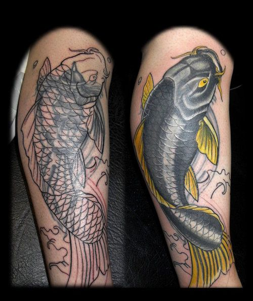 Koi tattoo sleeves koi cover up leg sleeve tattoo for Koi 9 en israel