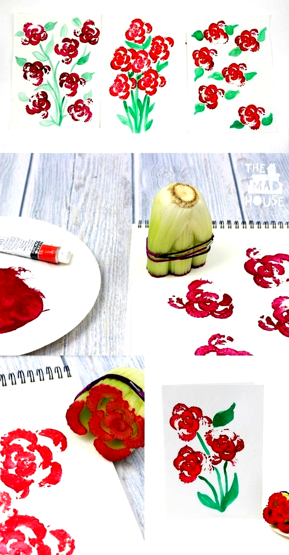 Printing Flowers with Celery Stalks   Vegetable Printing #Coolcrafts #Art