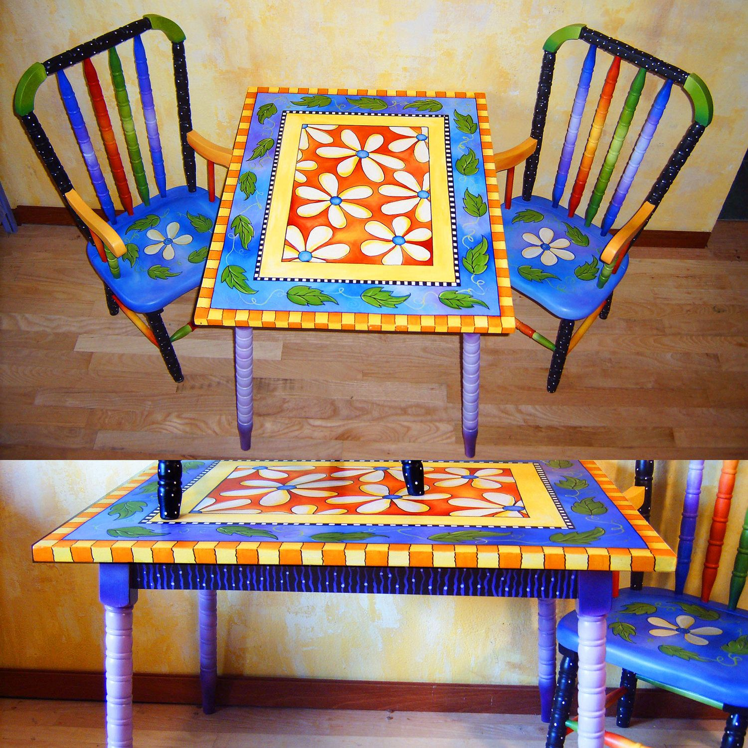 Whimsical And Original Hand Painted Child Table And 2