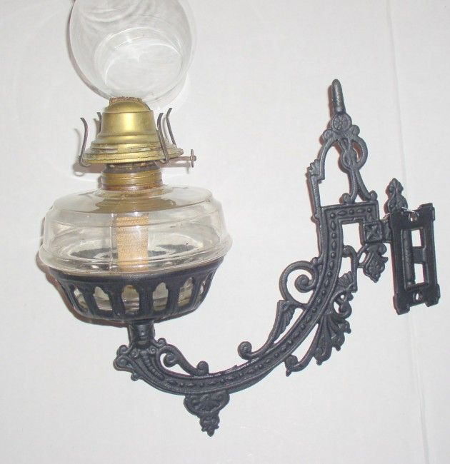 Cast Iron Swing Arm Oil Lamp Holder Wall Mounted Victorian