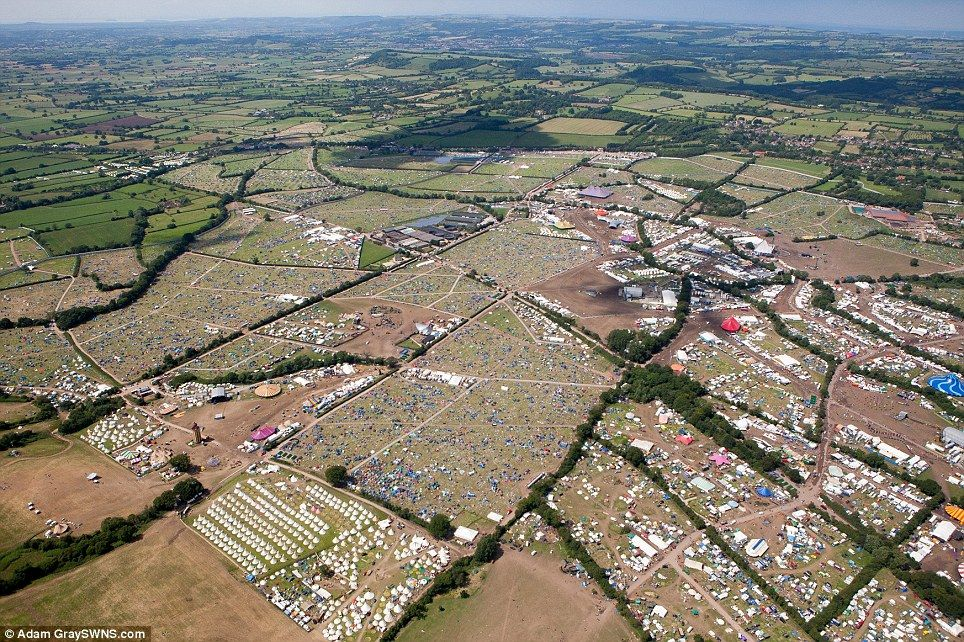 Aerial View Of The Glastonbury Festival Site As People Leave After In Pilton