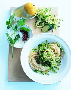 No Time to Cook By Donna Hay & Zucchini Mint Pasta. This has become my go-to easy mid-week dinner. Delicious.