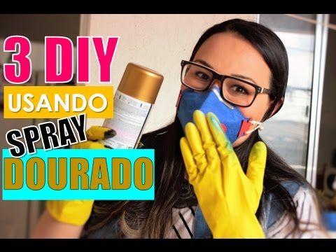 Como pintar mdf com spray dourado
