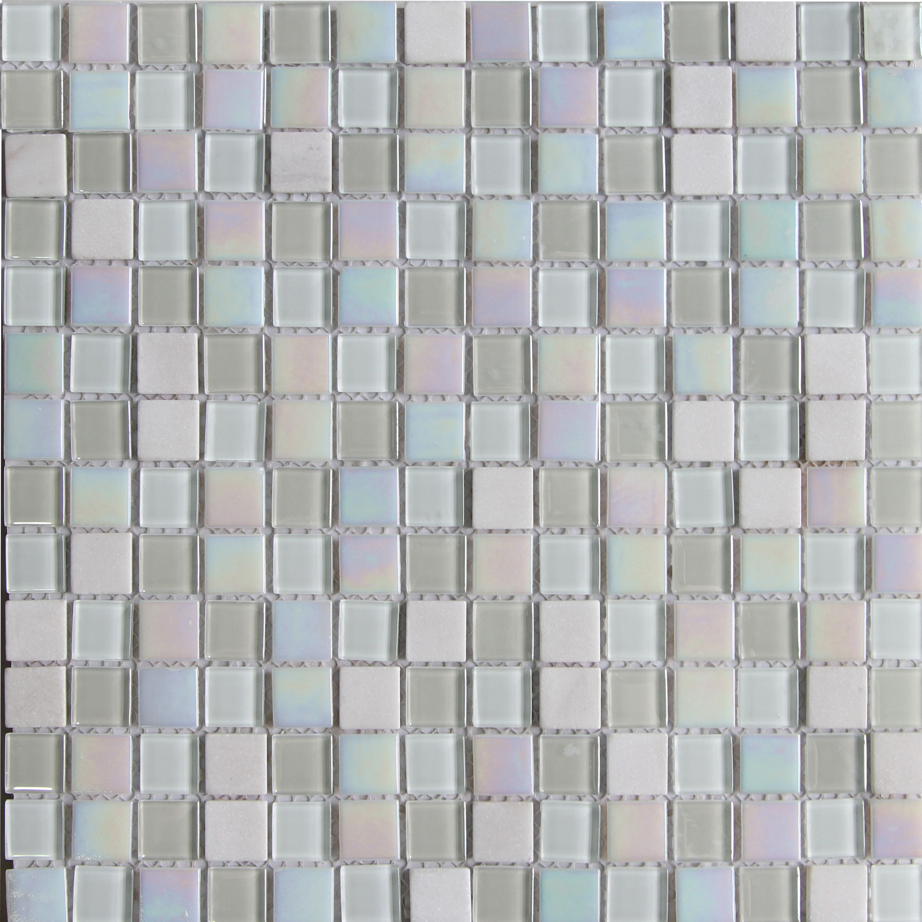 Parmia White Glass & Marble Mosaic Tile, (L)300mm (W)300mm | Glass ...