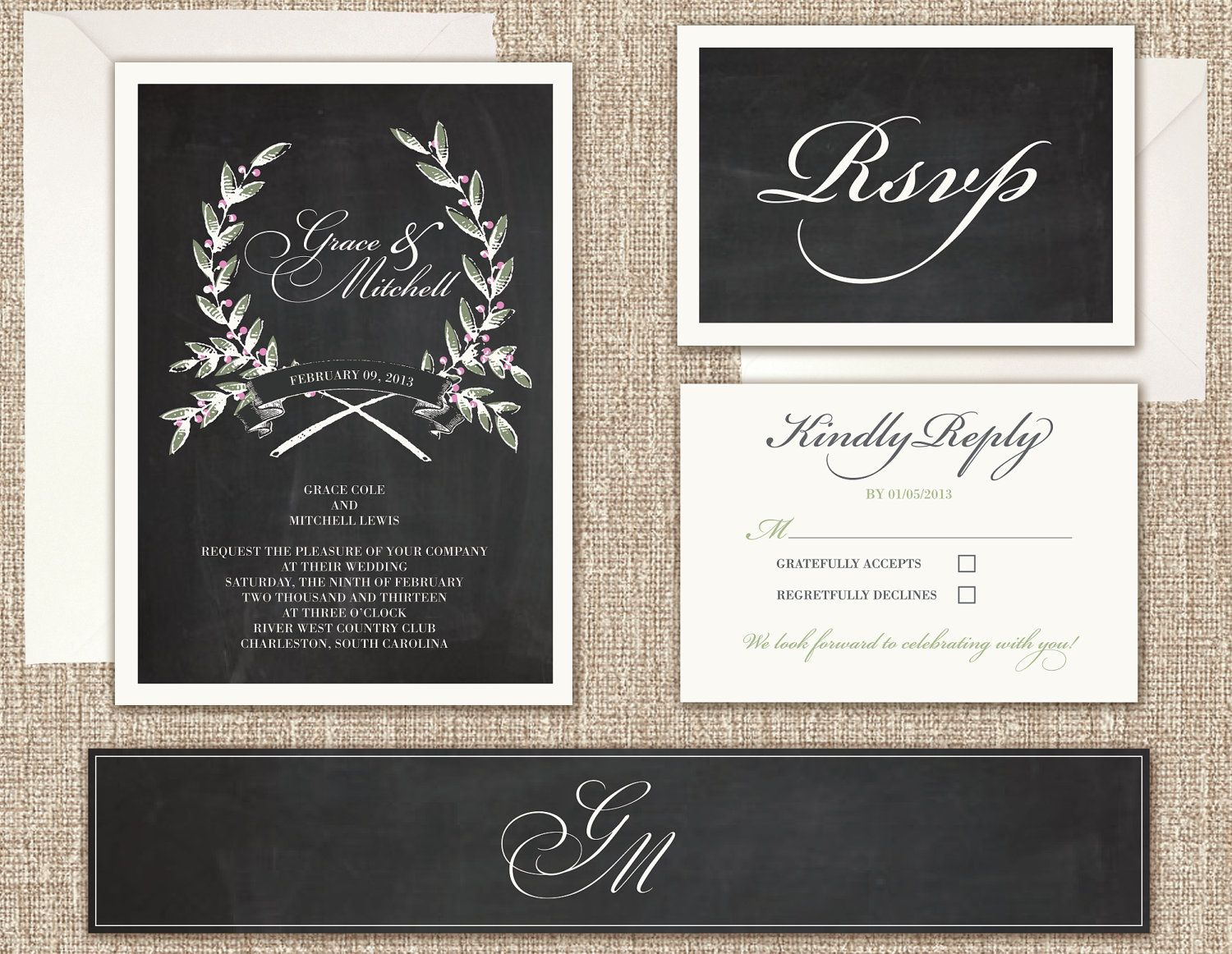 Rustic Modern Wedding Invitations with a Chalkboard Texture (Sample ...