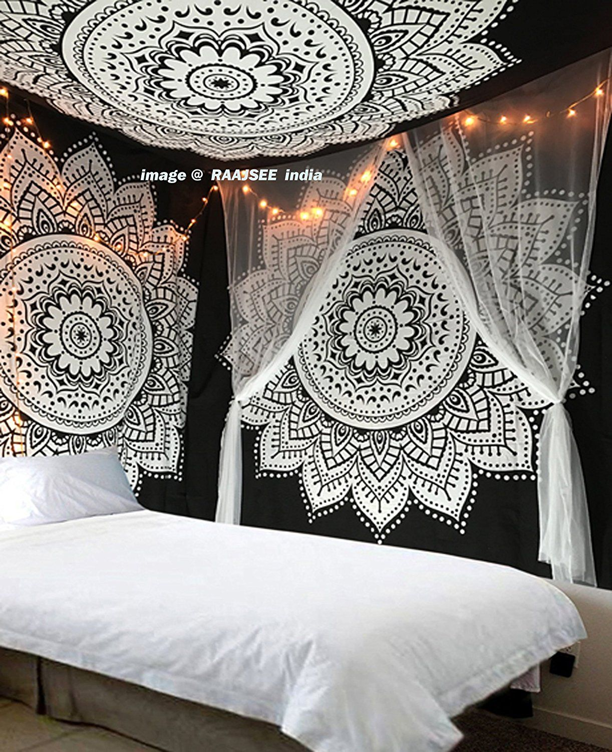 Exclusive 'black white Ombre Tapestry by raajsee' Ombre Bedding , Mandala Tapestry, Queen, Multi Color Indian Mandala Wall Art Hippie Wall Hanging Bohemian Bedspread >>> Check out this great product. (This is an affiliate link) #Tapestries