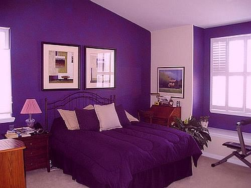 Appealing Black Iron King Bed Frames With Purple Cover Bedding Sheet As Well As Cool Portray At Purple Wall Bedroom Painted As Inspiring Purple Bedroom