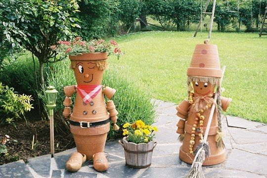 des personnages pots jardin d co trucs et astuces pinterest pots personnage et d co. Black Bedroom Furniture Sets. Home Design Ideas