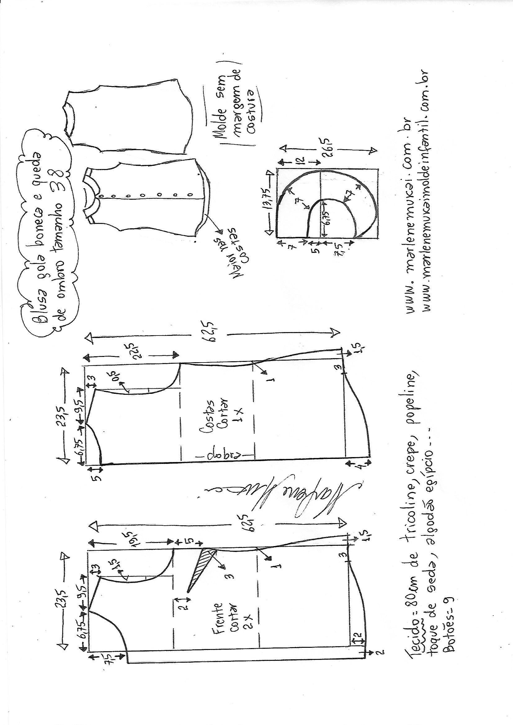 Blusa com queda de ombro e gola boneca | Gcostura | Pinterest ...