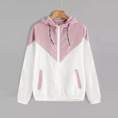 17d2d8b63bb FeiTong Autumn Fashion Hooded Two Tone Windbreaker Jacket Zipper Pockets  Casual Long Sleeves Feminino Coats Outwear