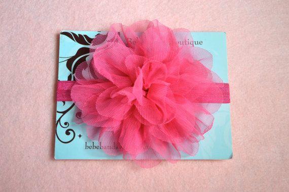 Baby Girl HeadbandBaby Headband hot pink mesh puff on by Bebebands, $7.99
