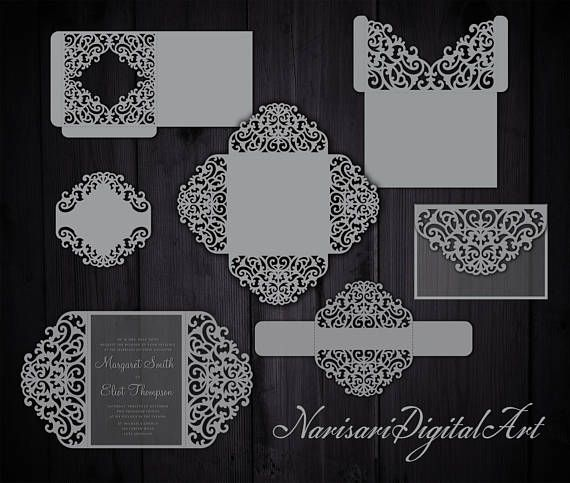 Big Set Cricut Wedding Invitation Template Gate Fold Card