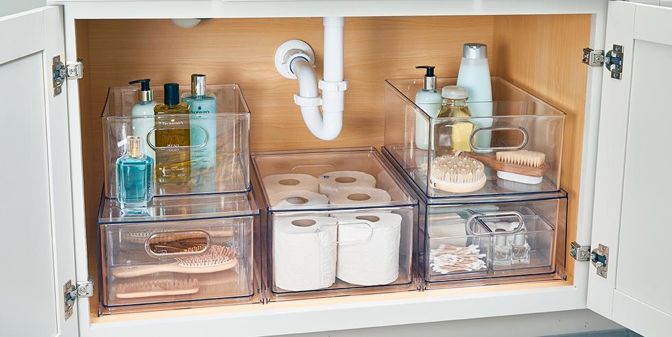 11 Genius Ideas To Up Your Under The Sink Storage Game Sink Storage Under Sink Storage Kitchen Sink Storage