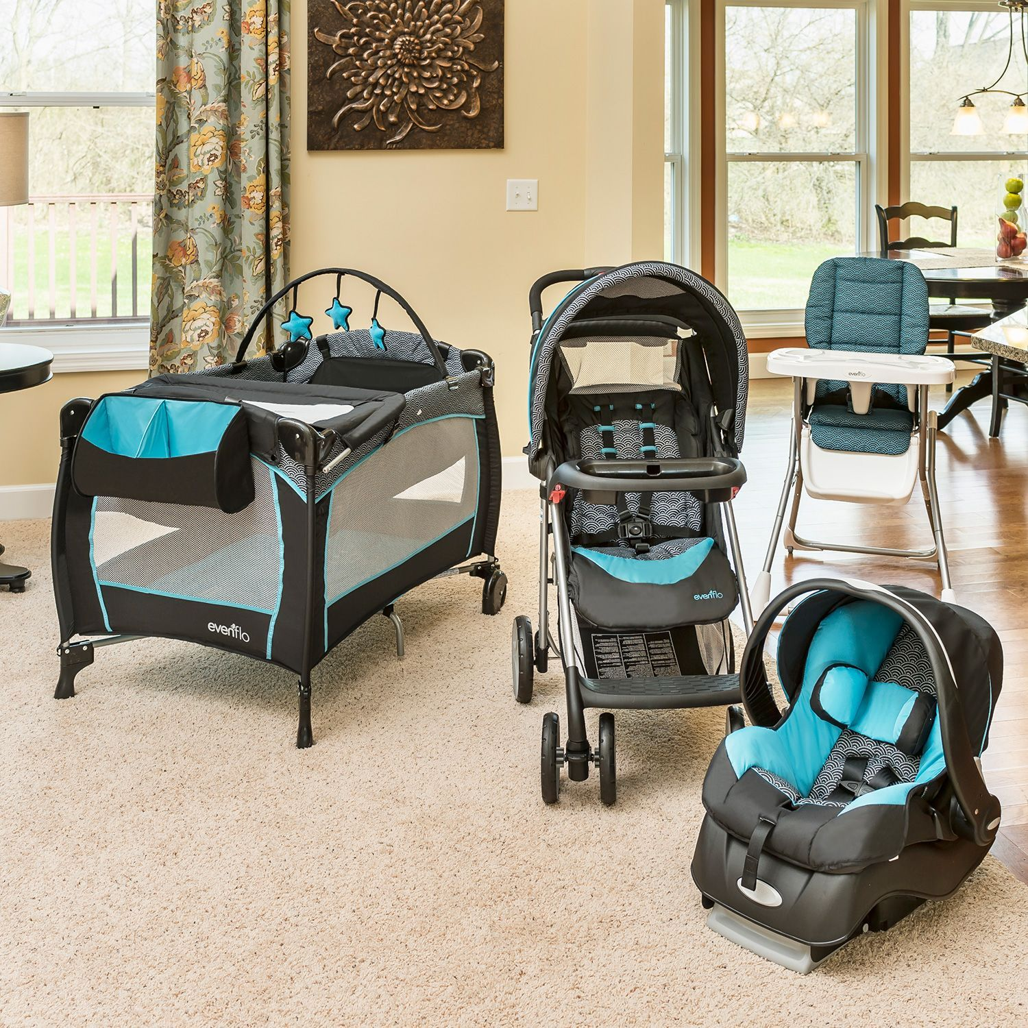 Evenflo JourneyLite Travel System With Embrace Infant Car Seat Koi
