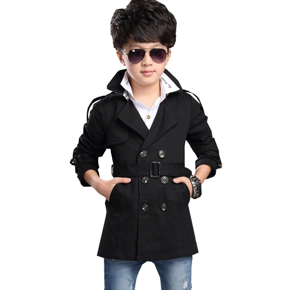 f9d3e3789b8e LSERVER Boys Long Sleeve Double Breasted V-neck Trench Coat Middle ...