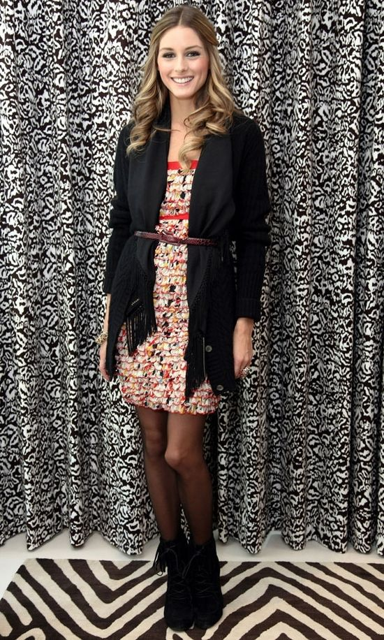 Olivia Palermo - flower dress with belted long cardigan