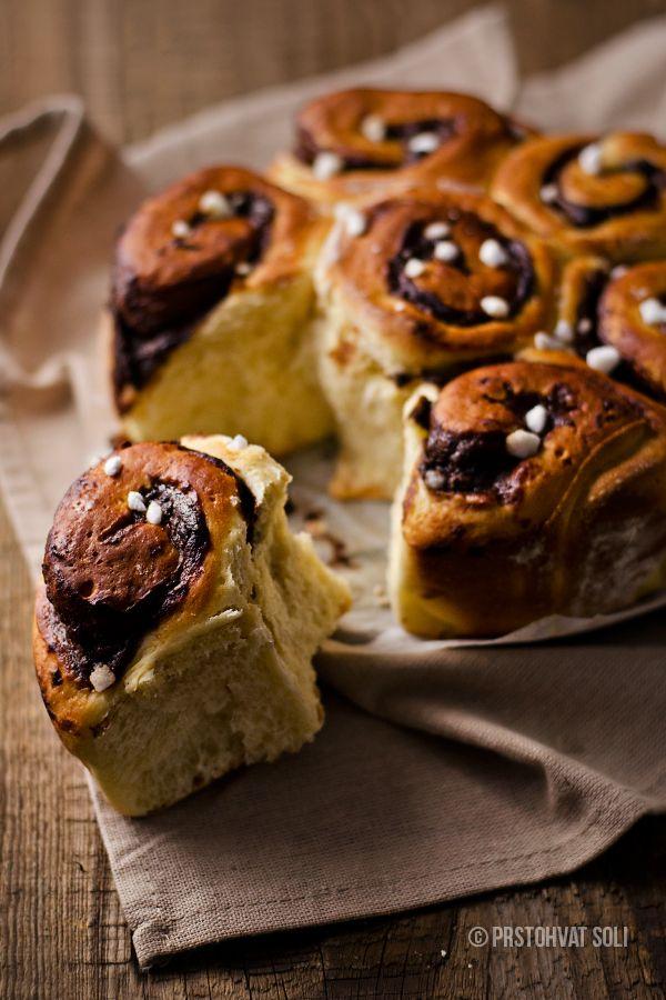 Slatki pužići / Chocolate banana ganache buns