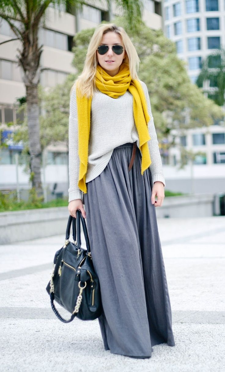 gorgeous color combinations for cold days gray maxi