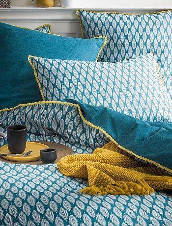 Parure de lit 2 personnes en coton bio bleu canard Linge de lit